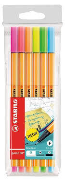STABILO POINT 88 6 PENNE PUNTA FINE 0.4 MM COLORI ASSORTITI IN BLISTER