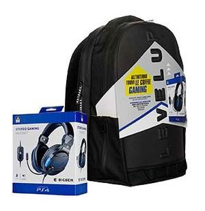 Zaino con Cuffie Gaming PS4 Bigben, Zaino Scuola e da Viaggio Level Up con Spallacci Imbottiti, Giochi Preziosi