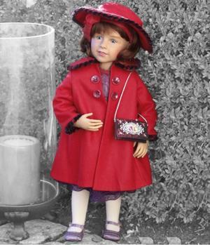 "Bambola da Collezione Vinile ""Brigitte di Sissel B. Skille"" in Scarpe di Seta e Borsetta Ricamata, edizione limitata 100 pezzi Gotz Made in Germany"