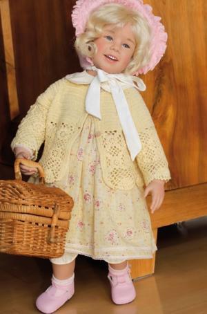 """Bambola da Collezione Vinile """"Juliane di Sissel B. Skille"""" con Cestino in Vimini, edizione limitata 750 pezzi Gotz Made in Germany"""