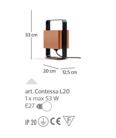 Lampada da Tavolo Contessa di Febo Piccola in Cuoio e Ottone, Varie Finiture - Offerta di Mondo Luce 24