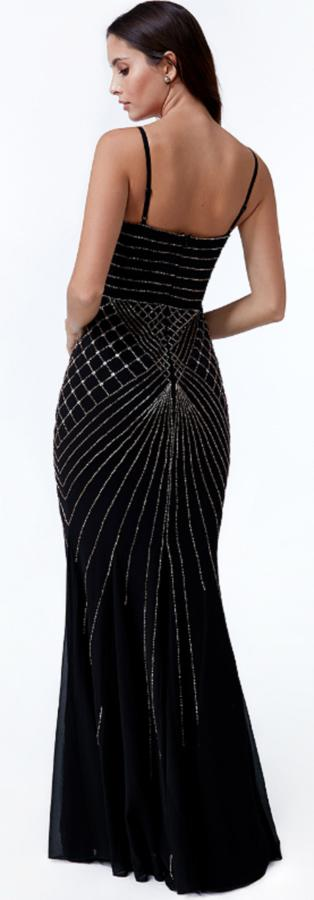 0619 LONG BLACK DRESS IN LINED CHIFFON WITH EMBROIDERY IN RHINESTONES AND STONES SEQUINS