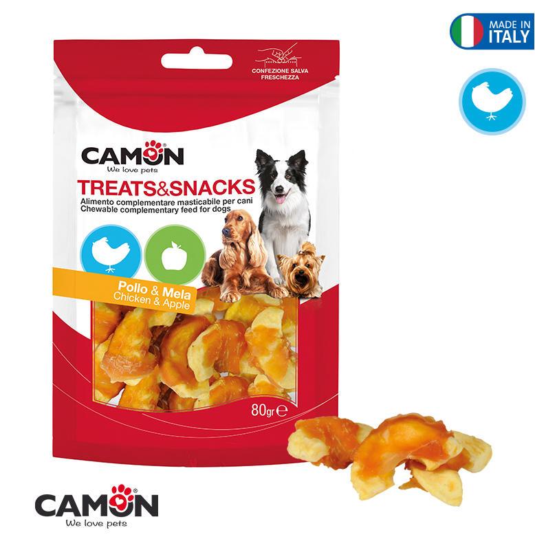 Camon AE021 Snack Per Cani Masticabili Pollo Con Mela Naturale Senza Additivi
