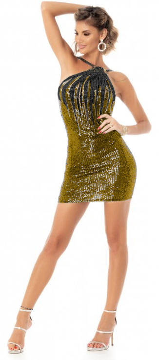 0620 SHORT DRESS IN SHADED GOLD SEQUINS WITH UNLESSED BACK