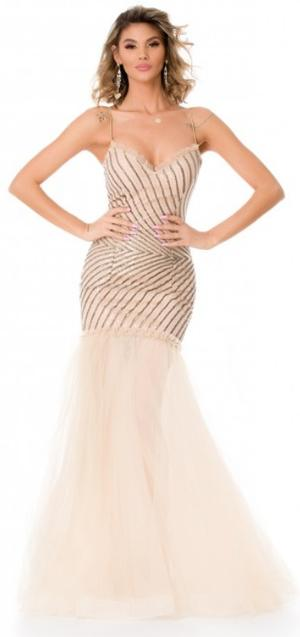 0622 POWDER DRESS IN LINED TULLE WITH GEOMETRIC BODY IN GOLD MICRO SEQUINS