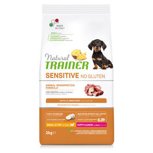 Natural Trainer Sensitive Salmone e Cereali Monoproteico 2KG Croccantini Per Cani Mini