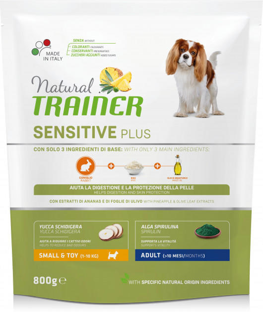 Natural Trainer Sensitive Plus Coniglio Monoproteico 800g Crocchette Per Cani