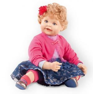 """Bambola da Collezione Vinile """"Sanne di Didy Jacobsen"""" con Gonnellina Blu in Tulle, edizione limitata 500 pezzi Gotz Made in Germany"""