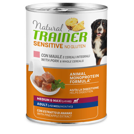 Natural Trainer Sensitive Medium Maxi Maiale 400g Cibo Umido Per Cani Pate