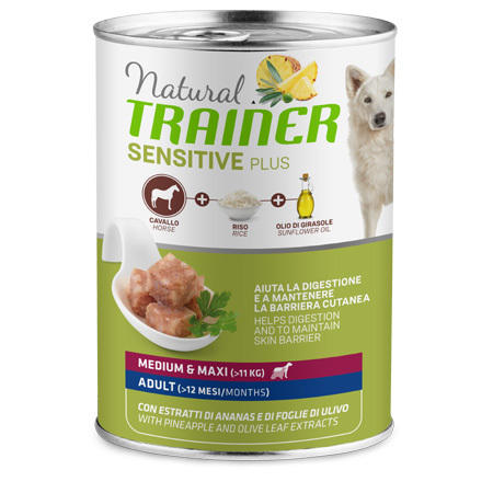 Natural Trainer Sensitive Plus Medium Maxi Cavallo 400g Cibo Umido Per Cani