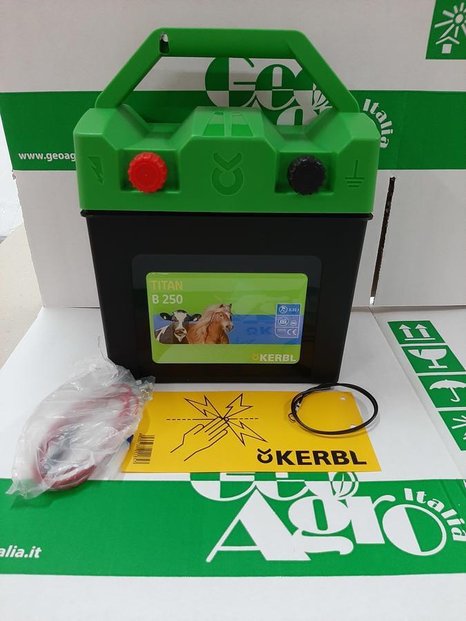 Elettrificatore Kerbl TITAN B250 9 V - 12 V -230 V + pila alcalina 9 Volt 170Ah
