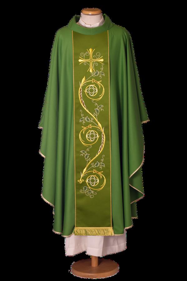 Casula con Stolone ricamato - 100% lana - 4 colori liturgici