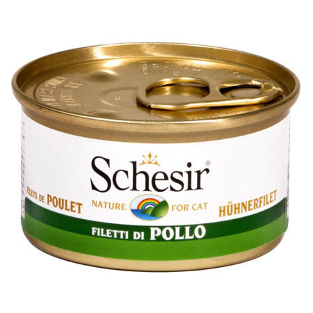 Schesir Filetti Di Pollo In Gelatina Lattina 85g Cibo Umido Per Gatti Adulti