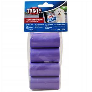 Trixie 4 Rotoli di Sacchetti igienici Per Cani 80 Pezzi Profumati alla Lavanda Viola