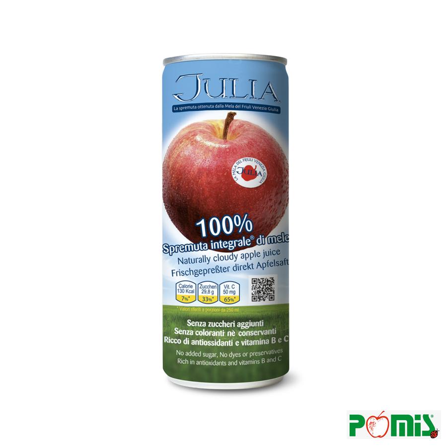 Pura spremuta integrale di mele in lattina.