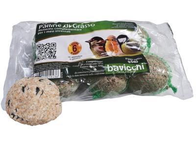 Confezione 6 Palle di Grasso da 90 gr per Uccelli Selvatici