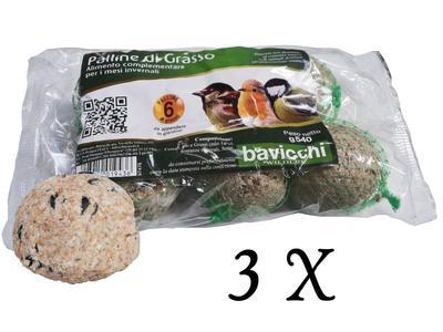 3 Confezioni da 6 Palle di Grasso per Uccelli Selvatici
