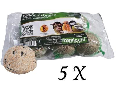 5 Confezioni da 6 Palle di Grasso per Uccelli Selvatici