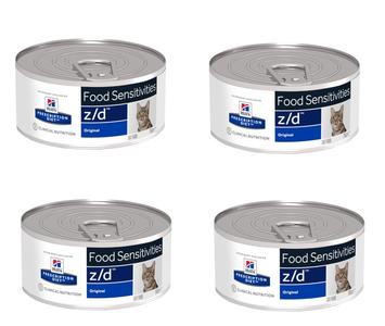 24 Lattine da 156g Hill's z/d Food Sensitives Cibo Umido Per Gatti Intolleranze allergie