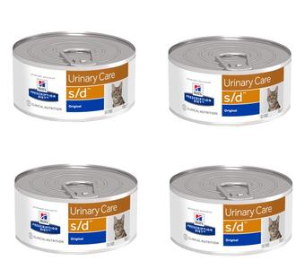 24 Lattine da 156g Hill's s/d Urinary Care Struvite Cibo Umido Per Gatti Calcoli