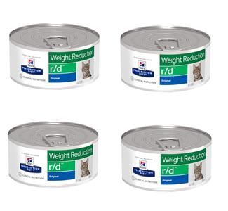 24 Lattine da 156g Hill's r/d Weight Reduction Cibo Umido Per Gatti Perdita Peso Dieta
