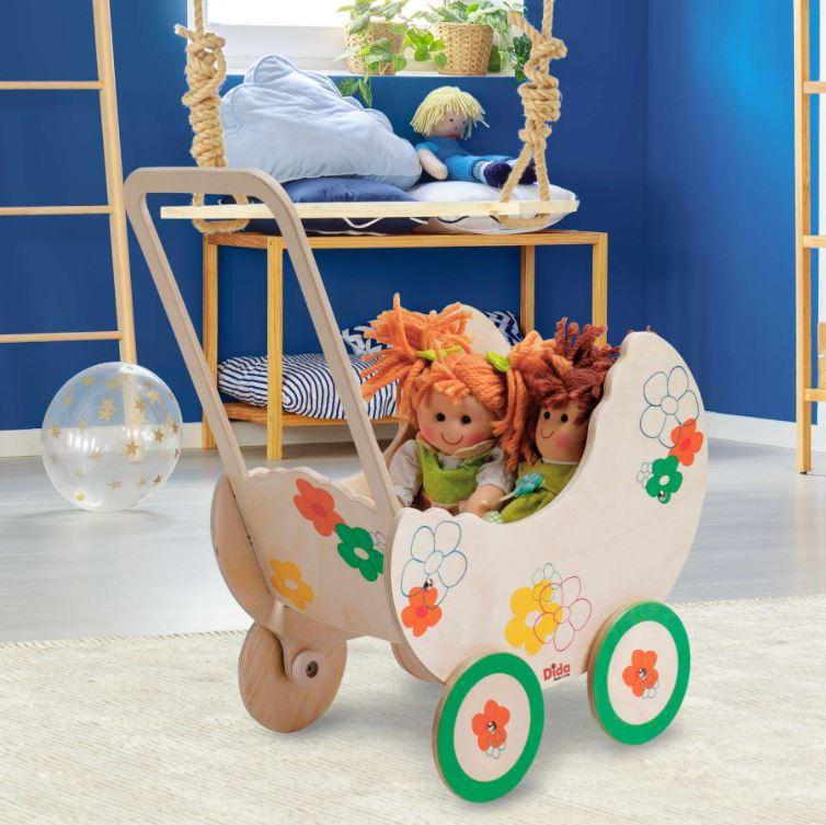 Carrozzina Fiore per Bambole in Legno Naturale per Bambini di Dida