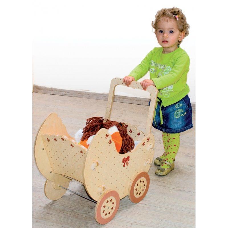 Carrozzina Natura per Bambole in Legno Naturale per Bambini di Dida - Offerta