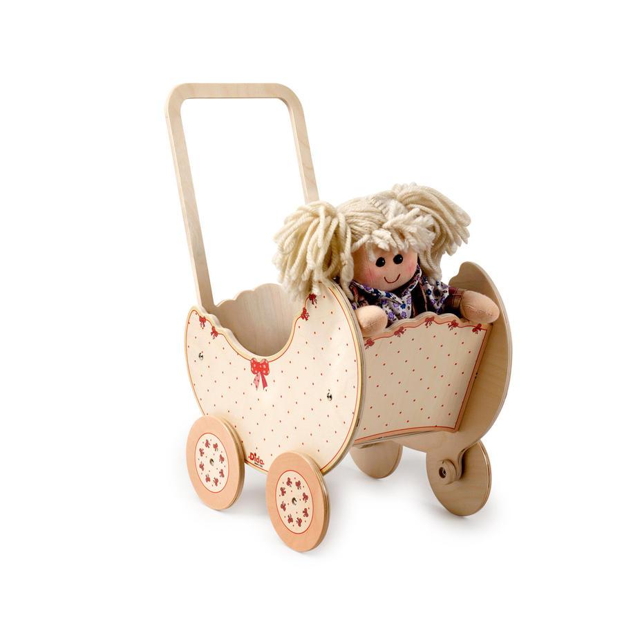 Carrozzina Fiocco per Bambole in Legno Naturale per Bambini di Dida - Offerta