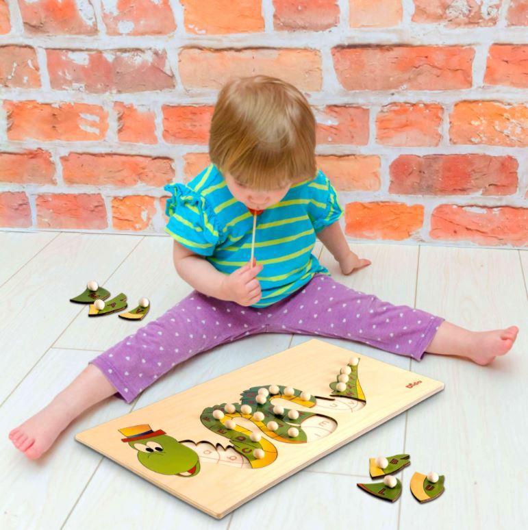 Puzzle Alfabeto in Legno Naturale per Bambini, Dragone e Bruco di Dida