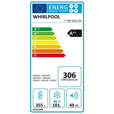 WHIRLPOOL Frigorifero Doppia Porta TTNF9322OX A Libera Installazione Capacità 472 LItri Classe A++ Colore Inox