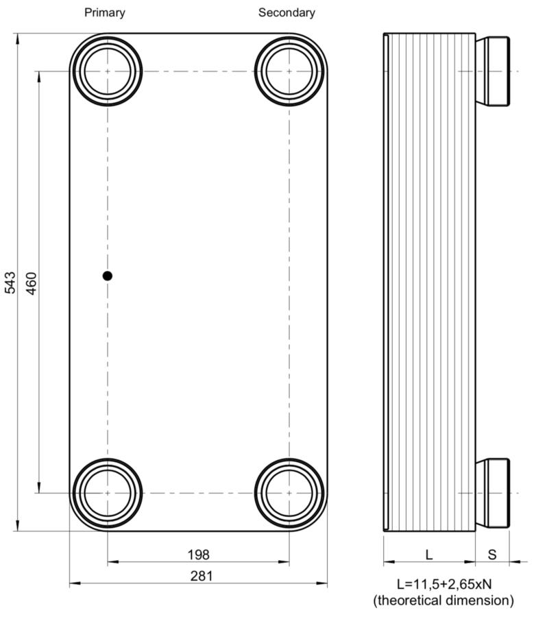 """Scambiatore di calore  GBS 757M-60 (XLA1,XG2) 2 x 1 ⅛""""-54,2mm ODS + 2 x 2"""" Kelvion"""