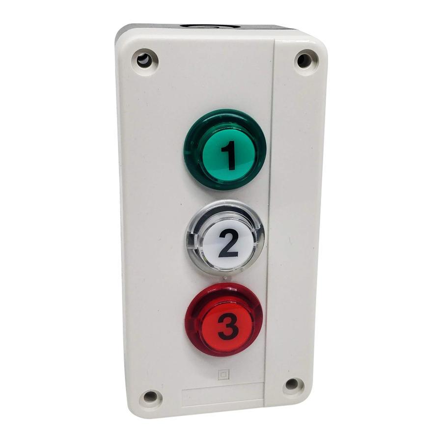 Pulsantiera con 3 pulsanti con LED