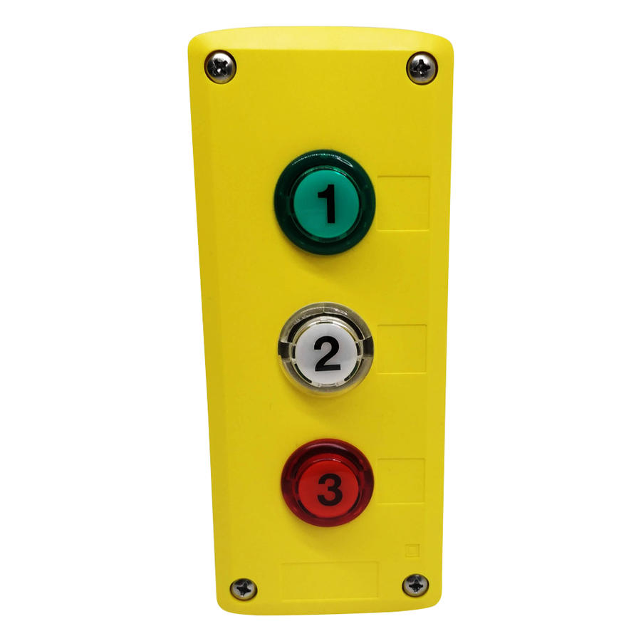 Pulsantiera con 3 pulsanti con LED - box giallo