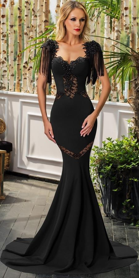 0629 LONG DRESS IN ELASTIC CREPE FABRIC WITH TULLE MACRAME 'LACE AND BEADS