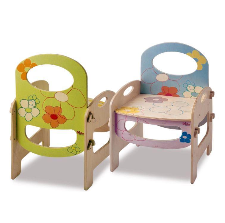 Sedia a Fiori per Bambini in Legno Naturale Decorato di Dida