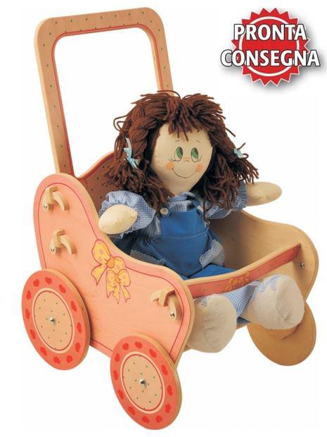 Passeggino Rosa per Bambole in Legno Naturale Decorato per Bambini di Dida - Offerta