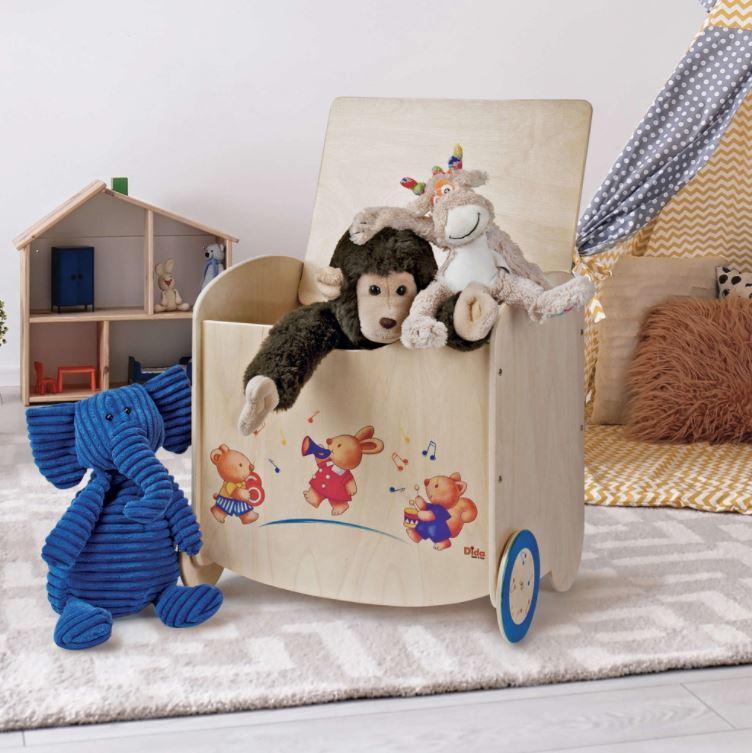 Pouf Porta Giochi in Legno Naturale Decorato per Bambini di Dida