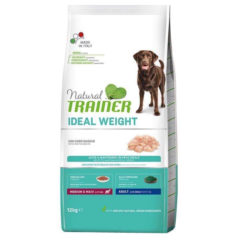 Natural Trainer Ideal Weight Medium Maxi Carni Bianche 12 Kg Per Cani