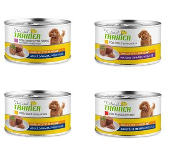 24 Lattine Da 150g Natural Trainer Small e Toy Adult Umido Per Cani Piccola Taglia
