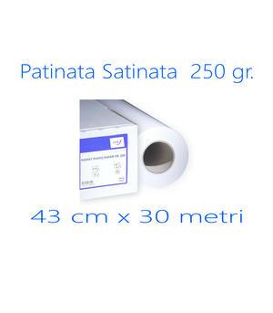 ROTOLO CARTA FOTOGRAFICA 250GR.  PATINATA SATINATA  43 CM X 30 M.