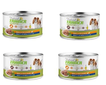 24 Lattine da 150g Natural Trainer Sensitive Plus Umido Per Cani Piccola Taglia
