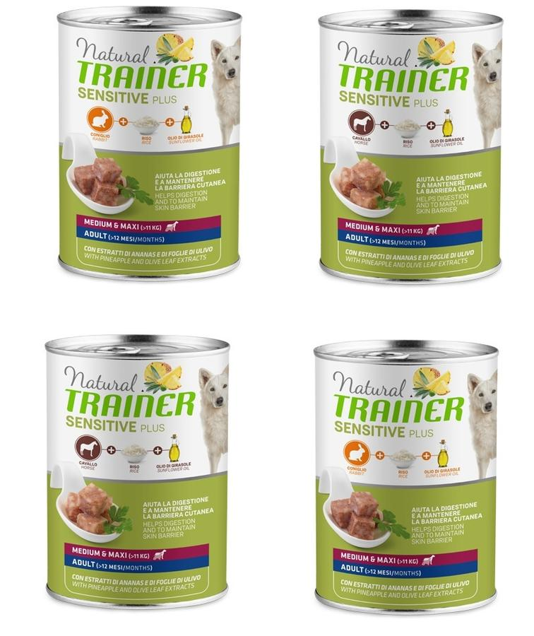 12 Lattine Da 400g Natural Trainer Sensitive Plus Medium Maxi Umido Per Cani