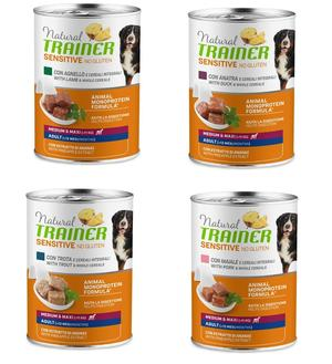 12 Lattine Da 400g Natural Trainer Sensitive Medium Maxi Cibo Umido Per Cani