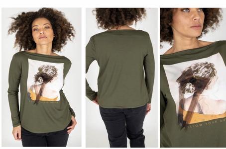 MORE t-shirt con donna fiocco