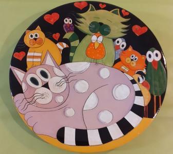 """Piatto Decorativo da Parete """"Gatti e Uccellini"""" de Il Mondo Magico"""
