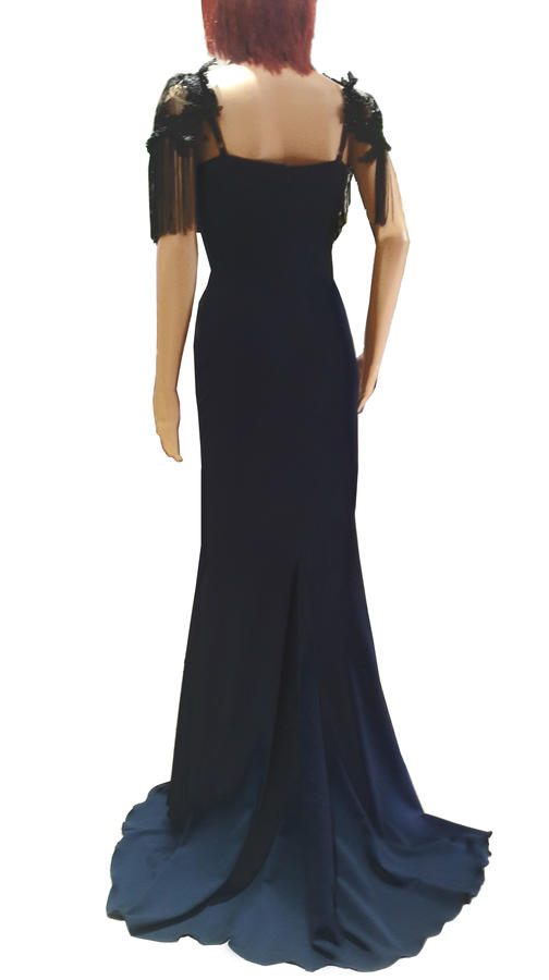 0630 LONG DRESS IN ELASTIC CREPE FABRIC WITH TULLE MACRAME 'LACE AND BEADS
