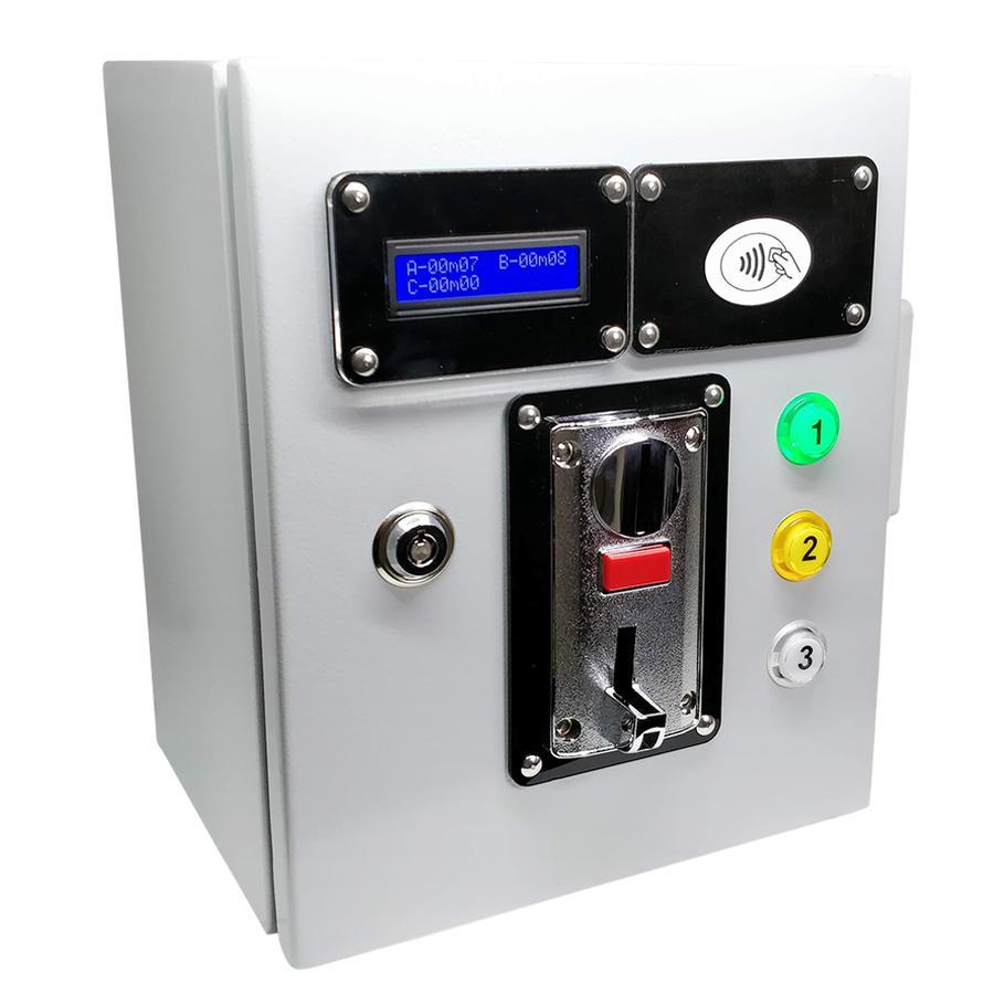 Gettoniera + Lettore carte per 3 docce  con funzione di Autoricarica da gettoniera