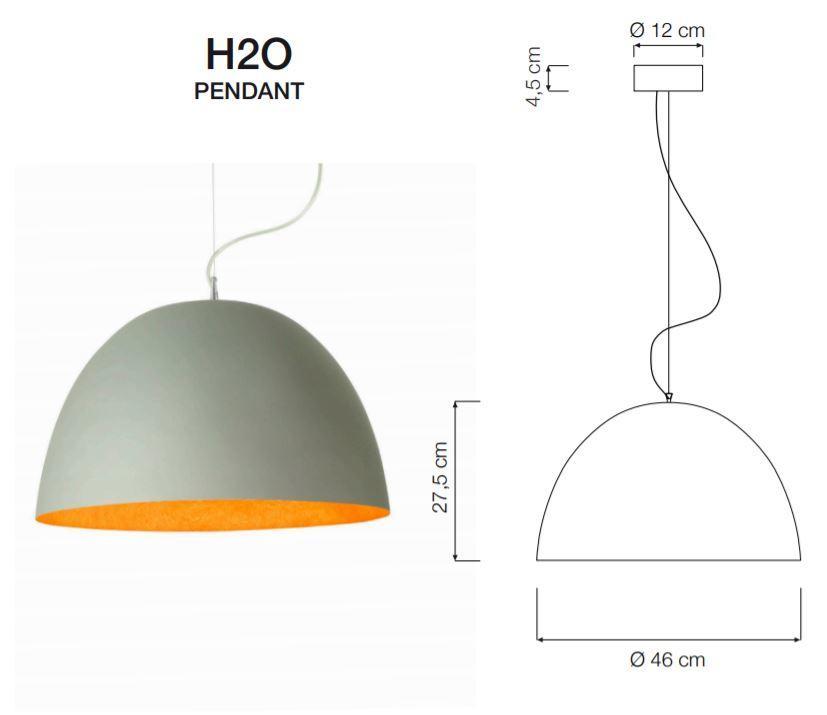 Lampada a Sospensione H2O Cemento Collezione Matt di In-es.artdesign, Varie Finiture - Offerta di Mondo Luce 24