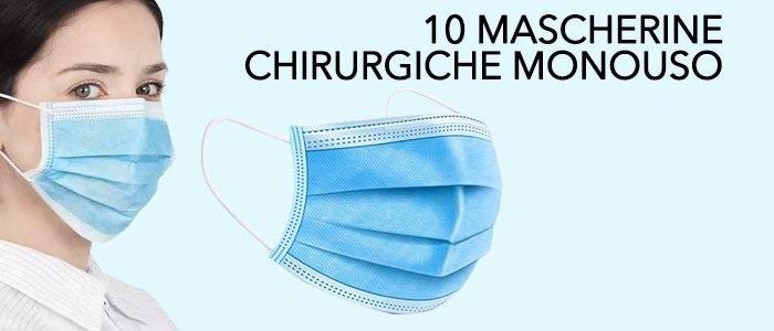 10 pz Mascherine chirurgiche 3 strati pezzi 10 certificate CE EN14683 e testate traspiranti