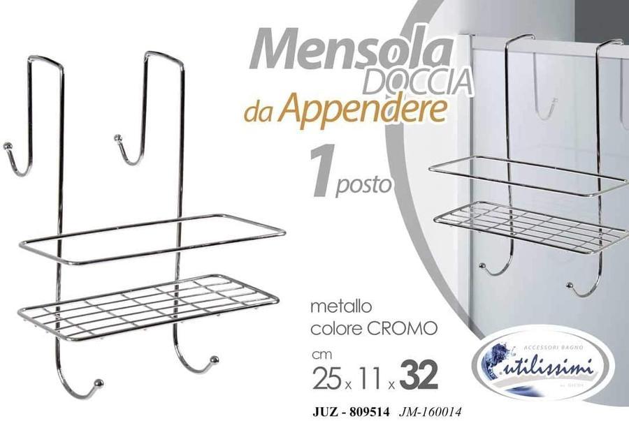 Mensola Doccia da Appendere 1 Posto in Metallo Colore Cromo 25 x11 x 32 cm